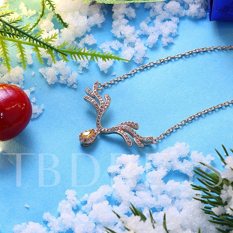 Christmas Reindeer Antlers Diamante Pear Zircon Necklace