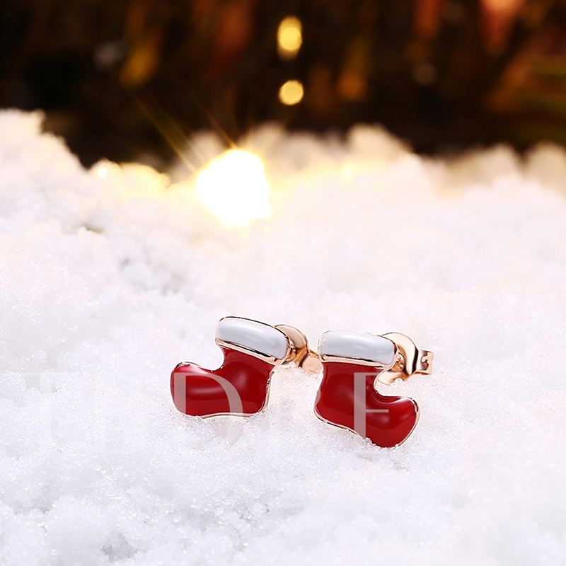 Christmas Socks Oil Drip Alloy Rose Gold Earrings