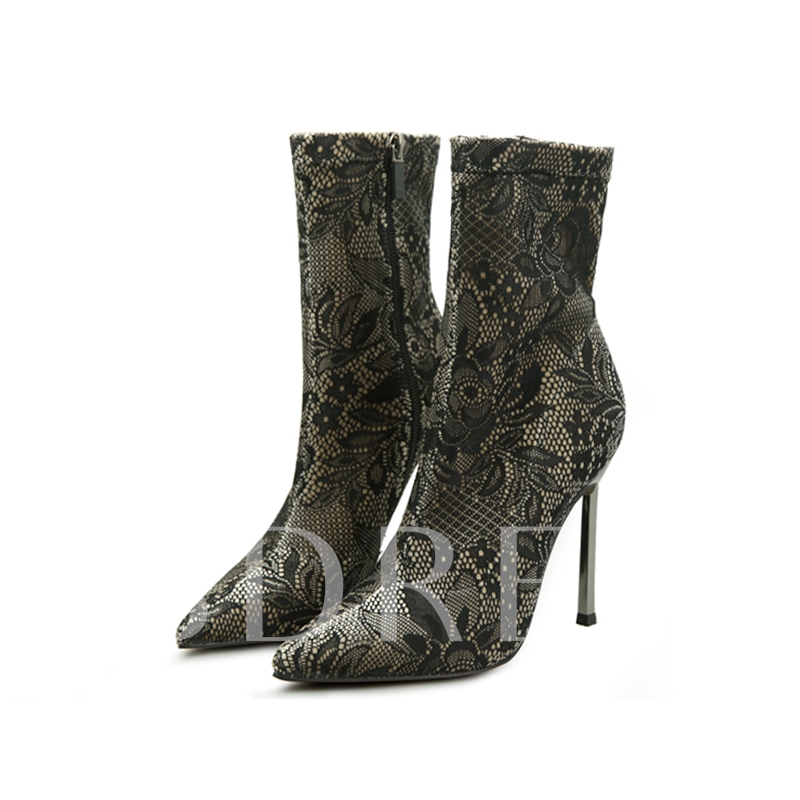 Lace Floral High Heel Women's Sexy Boots for Women