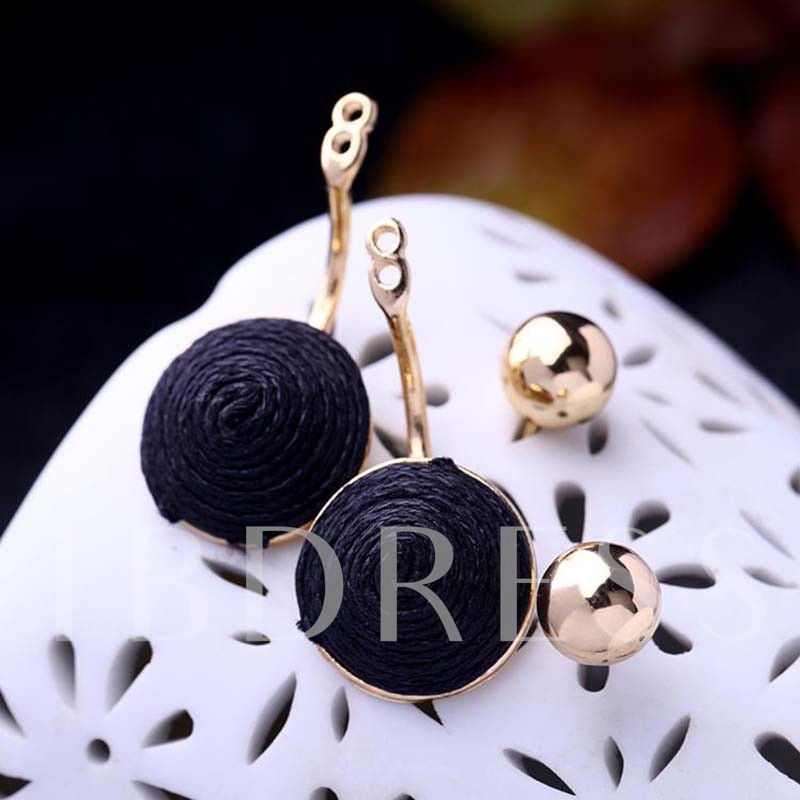 Alloy Wax String Overgild Round European Earrings