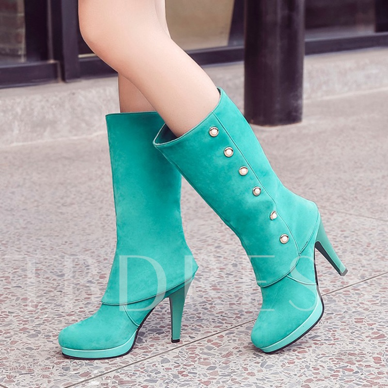 Slip On Beads High Heel Half Boots for Women(Plus Size Available)