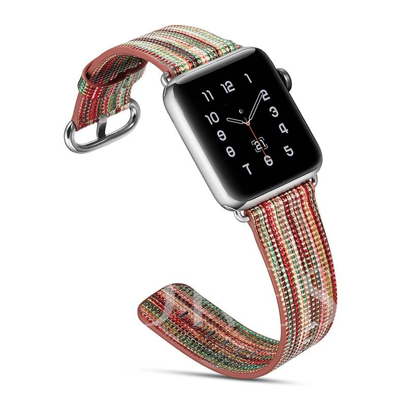 Apple Watch Artificial Leather Band Replacement Rainbow Pattern for iWatch 3/2/1