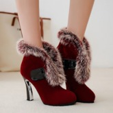 Horse Shoe Heel Purfle Fleece Slip On Boots for Women