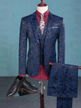 Black/Blue Color Blazer Floral Vest One Button Button Men's Dress Suit