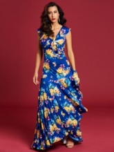 Blue Ruffled Floral Women's Maxi Dress