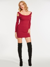 Cold Shoulder Pullover Women's Sweater Dress