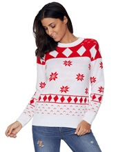 Round Neck Long Sleeve Classy Christmas Sweaters for Women