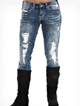 Hole Embroidery Washable Women's Jeans