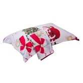 Santa and Christmas Tree Printed Cotton 4-Piece 3D White Bedding Sets/Duvet Covers