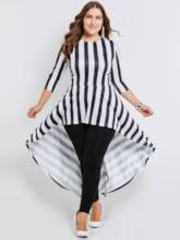 Plus Size 3/4 Sleeve Striped Women's Day Dress