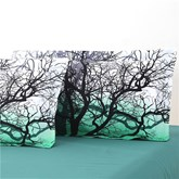 Tree Branches Cluster Printed 4-Piece Cotton Green Bedding Sets/Duvet Covers