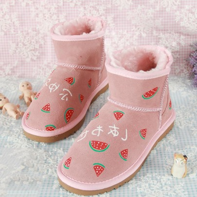 Pink Hand Painted Flat With Plush Warm Snow Boots for Women