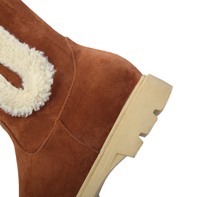 Color Block Flat With Women's Snow Boots Warm Shoes