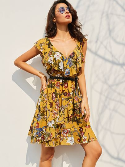 Yellow Printing Falbala Women's Day Dress