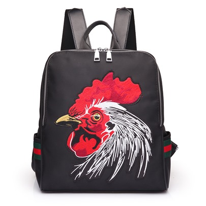 Stylish Cock Embroidery Nylon Men's Backpack