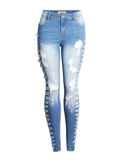 Slim Hole Light Blue Worn Washable Womens Jeans 13070569