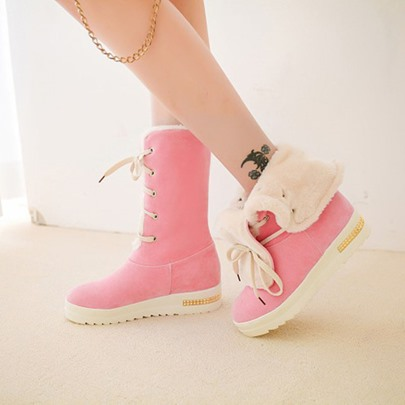Turn Cuff Shoes Lace Up Fleece Women's Snow Boots