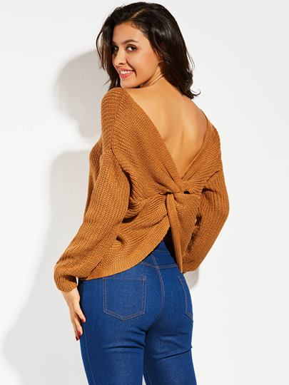 Backless Pleated Pullover Vacation Women's Sweater