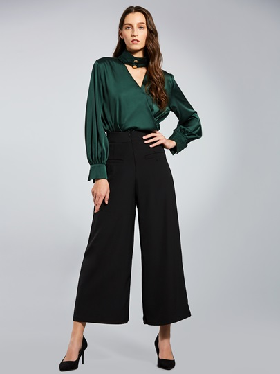 Color Block Long Sleeve Full Length Women's Pants Suit