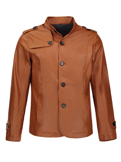 Stand Color Single-Breasted Thicken Warm Solid Color Men's Leather Jacket