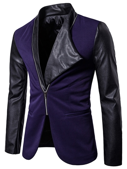 Gothic Style Irregular Patchwork Slim Fit Plain Men's Blazer