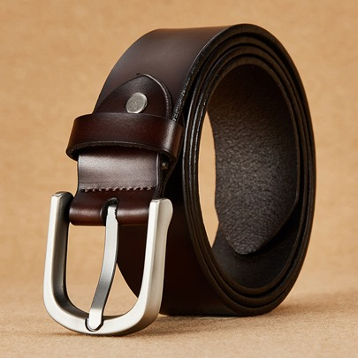 Artificial Leather Alloy Glossy Cowhide Men's Belts