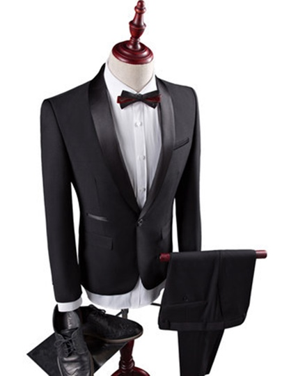 Contrast Trim Three Piece Slim Fit Plain Men's Dress Suit