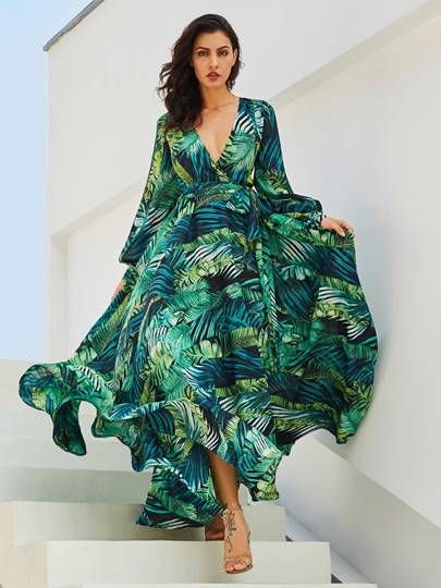 V-Neck Lantern Sleeve Plant Print Vacation Womens Maxi Dress V-Neck Lantern Sleeve Plant Print Vacation Women's Maxi Dress
