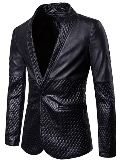 Notched Collar One Button Slim PU Men's Jacket