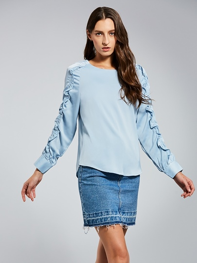 Tie Wrap Back Ruched Long Sleeve Women's Blouse