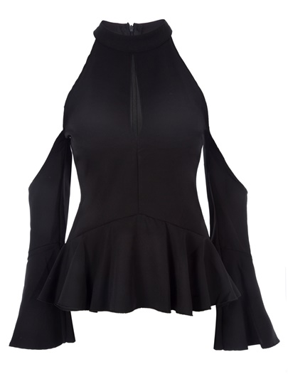 Sexy Stand Collar Cold Shoulder Women's Blouse