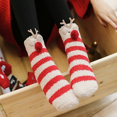 Red Cute Christmas Slipper Socks for Women