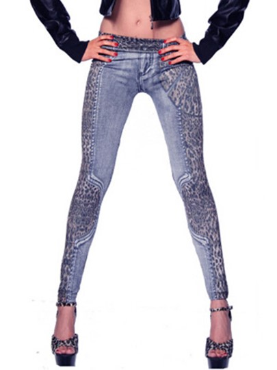 Leopard Print Denim Patchwork Women's Leggings