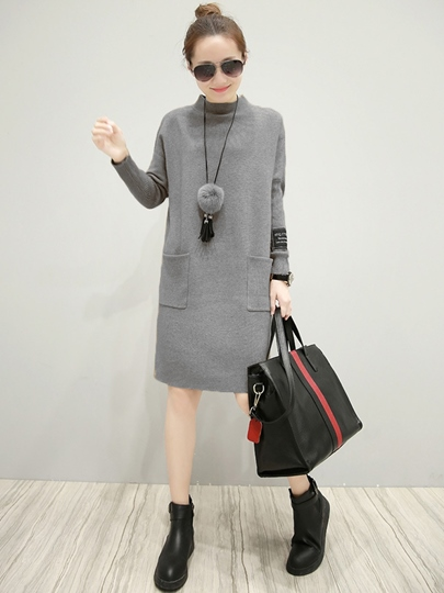Pullover Pockets Women's Sweater Dress