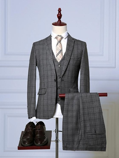 Notched Collar Plaid Printed Slim Fit Men's Dress Suit