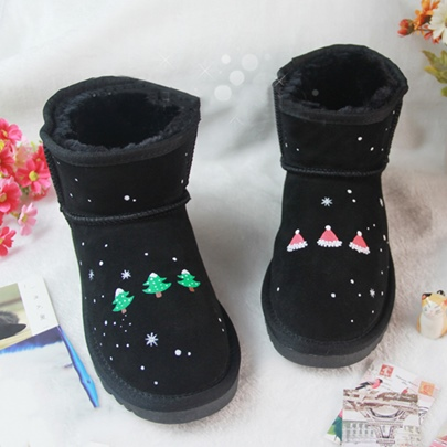 Black Christmas Snow Boots for Women