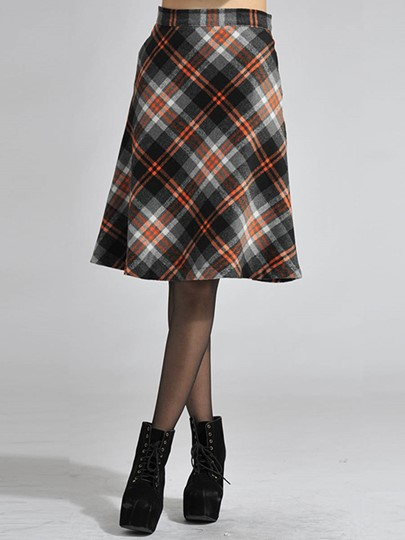 Retro High Waist A-Line Plaid Print Women's Skirt