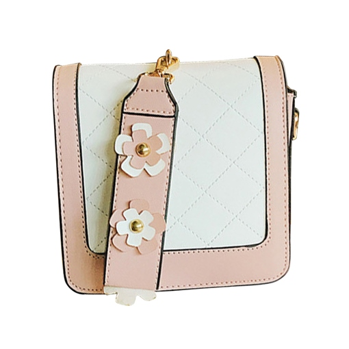 Quilted Lining Pattern Floral Decoration PU Tote