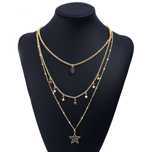 Star Popcorn Chain Alloy Overgild Multilayer Necklace