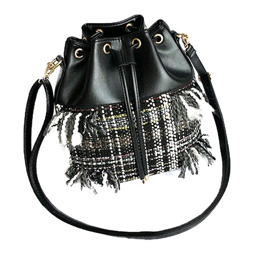 Stylish Plaid Tassel String Cross Body Bag