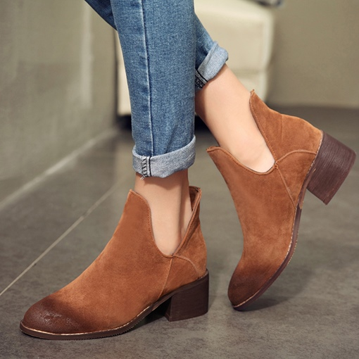 Nubuck Leather Brush Off Slip ON Ankle Boots for Women