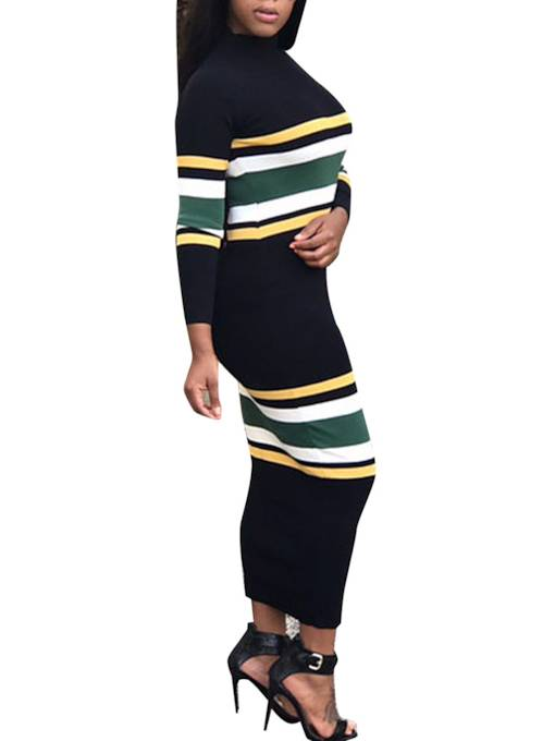 Striped Long Sleeve Black Women's Sweater Dress