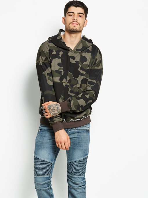 Hooded Camouflage Loose Men's Sweatshirt
