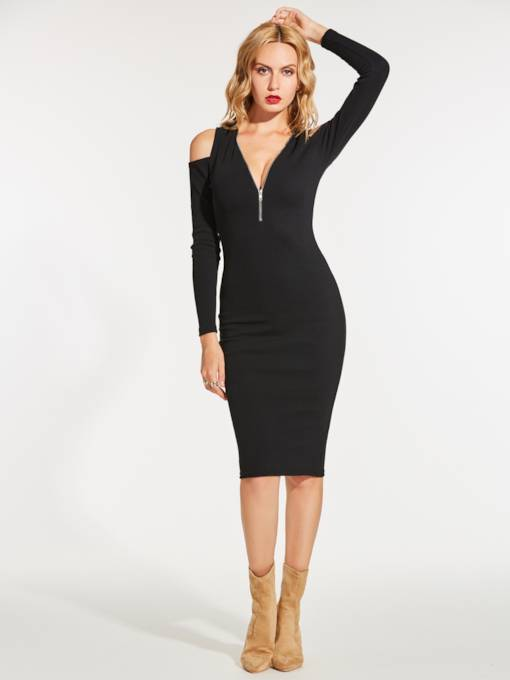 Cold Shoulder V Neck Women's Sweater Dress
