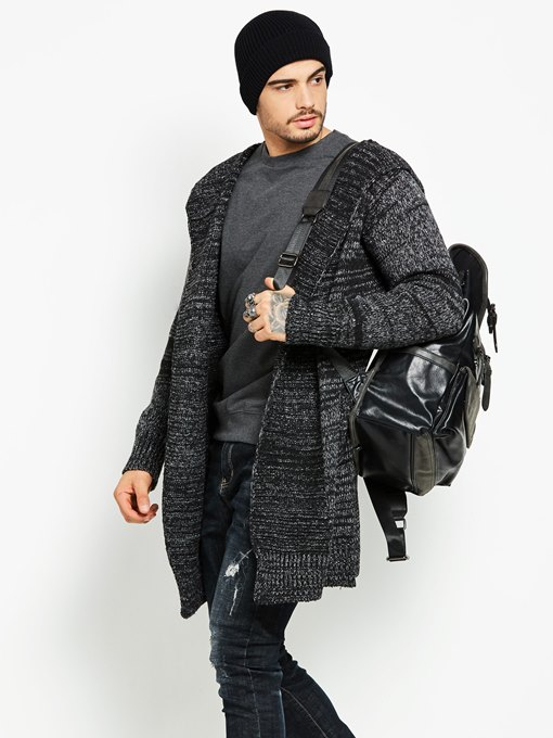 Hooded Mid-Length Plain Knit Men's Trench Coat