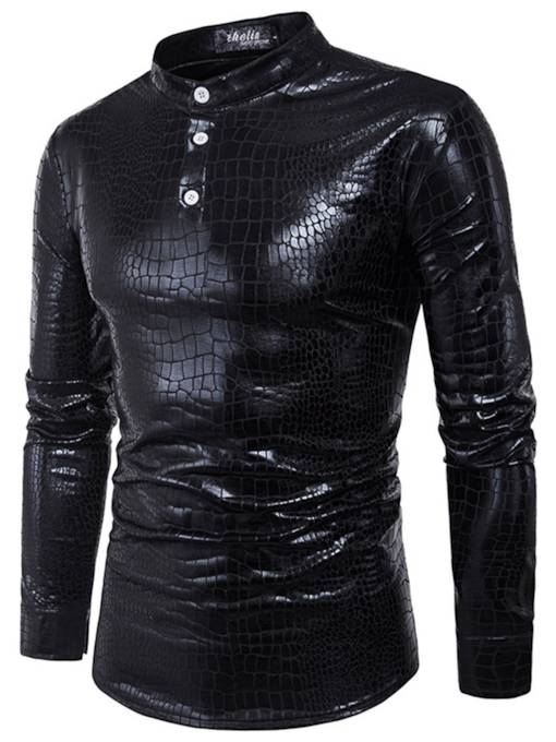 Stand Collar Crocodile Skin Type Glossy Slim Men's Long Sleeve T-Shirt