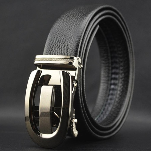 Hollow Out Alloy Automatic Buckle Artificial Leather Men's Belts