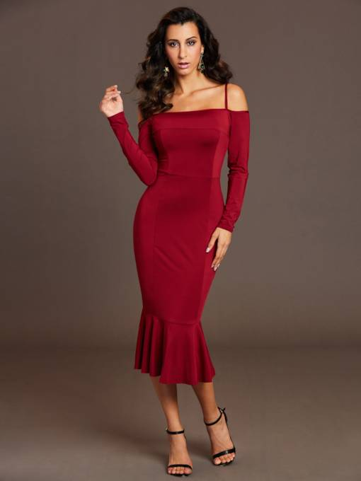 Spaghetti Strap Slash Neck Women's Bodycon Dress