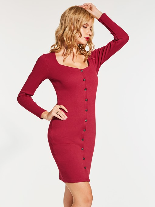 Solid Color Single-Breasted Women's Sweater Dress