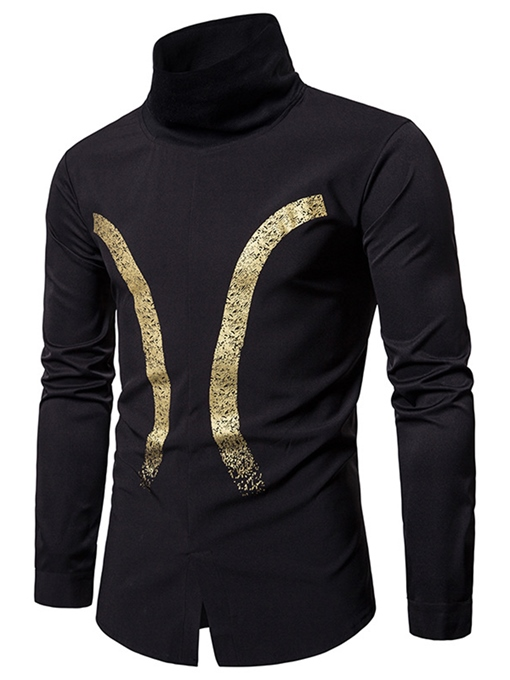 Turtleneck Gilding Printed Single-Breasted Slim Fit Men's Shirt